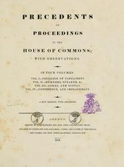 Precedents of proceedings in the House of Commons by John Hatsell