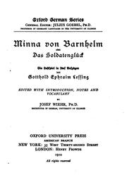 Cover of: Minna von Barnhelm by Gotthold Ephraim Lessing