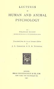 Cover of: Lectures on human and animal psychology by Wilhelm Max Wundt