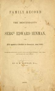 Cover of: A family record of the descendants of Sergt. Edward Hinman by R. R. Hinman