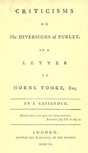 Criticisms on The diversions of Purley in a letter to Horne Tooke PDF