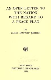 An open letter to the nation with regard to a peace plan PDF