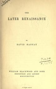 The later renaissance by David Hannay
