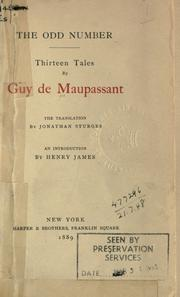 Cover of: The odd number by Guy de Maupassant