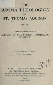 "Cover of: The ""Summa theologica"" of St. Thomas Aquinas by Thomas Aquinas"