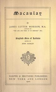 Macaulay by Morison, James Cotter