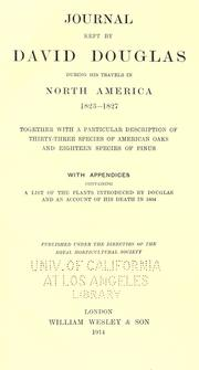 Cover of: Journal kept by David Douglas during his travels in North America 1823-1827 by Douglas, David