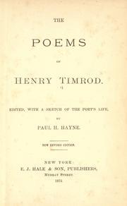 Poems of Henry Timrod PDF