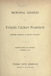 Cover of: Memorial address on Ezekiel Gilman Robinson by Thomas Davis Anderson