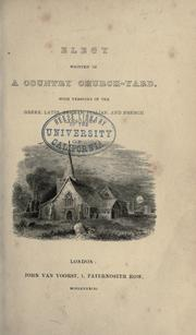 Cover of: Elegy written in a country church-yard by Gray, Thomas