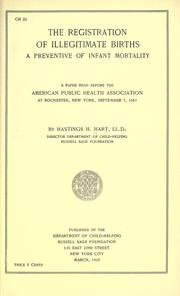 Cover of: The registration of illegitimate births by Hastings H. Hart