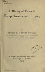 A history of events in Egypt from 1798 to 1914 PDF