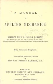 A manual of applied mechanics by Rankine, William John Macquorn