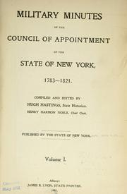 Military minutes of the Council of appointment of the state of New York, 1783-1821 PDF