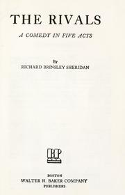 Cover of: The rivals by Richard Brinsley Sheridan