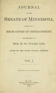 Journal of the Senate of Minnesota sitting as a high court of impeachment for the trial of Hon. E. St. Julien Cox, judge of the Ninth Judicial District PDF