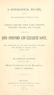 Cover of: A genealogical record by Jeremiah Spofford