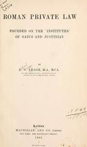 Roman private law, founded on the Institutes of Gaius and Justinian PDF