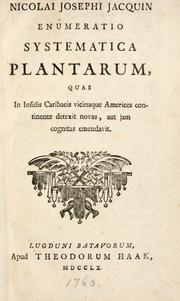 Enumeratio systematica plantarum by Jacquin, Nikolaus Joseph Freiherr von