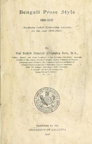 Bengali prose style, 1800-1857 PDF