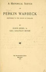 A historical sketch of Perkin Warbeck by Edwin Henes
