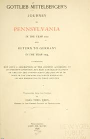 Gottlieb Mittelberger's journey to Pennsylvania in the year 1750 and