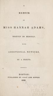 Cover of: A memoir of Miss Hannah Adams by Adams, Hannah