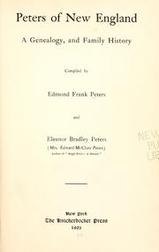 Cover of: Peters of New England by Edmond Frank Peters