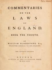 Cover of: Commentaries on the laws of England by Sir William Blackstone