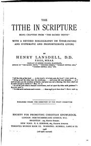 The tithe in scripture by Henry Lansdell