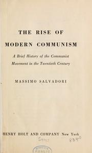 The rise of modern communism by Massimo Salvadori
