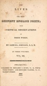 Cover of: The lives of the most eminent English poets by Samuel Johnson