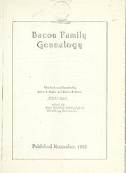 Cover of: Bacon family genealogy by Arthur L. Taylor