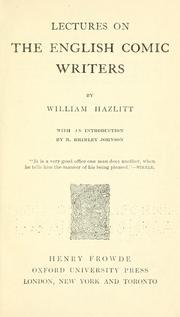 Lectures on the English comic writers by Hazlitt, William