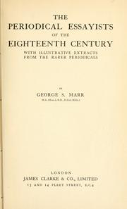 The periodical essayists of the eighteenth century by George Simpson Marr