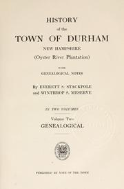 Cover of: History of the town of Durham, New Hampshire by Everett Schermerhorn Stackpole