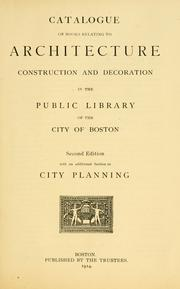 Catalogue of books relating to architecture