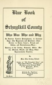 Cover of: Blue book of Schuylkill County by Ella Zerbey Elliott
