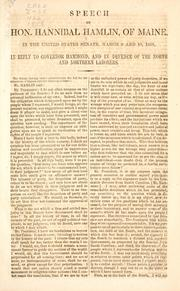Speech of Hon. Hannibal Hamlin, of Maine by Hannibal Hamlin