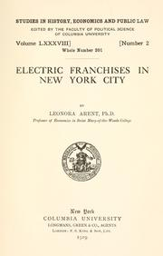 Electric franchises in New York City by Leonora Arent