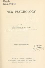 New psychology by John Pancoast Gordy