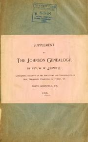 "Cover of: Supplement to ""The Johnson genealogy"" by Johnson, William Wallace"