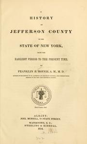 A history of Jefferson county in the state of New York, from the earliest period to the present time by Franklin Benjamin Hough