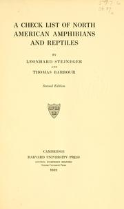 A check list of North American amphibians and reptiles by Leonhard Stejneger