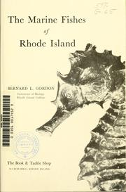 A guide book to the marine fishes of Rhode Island by Bernard L. Gordon