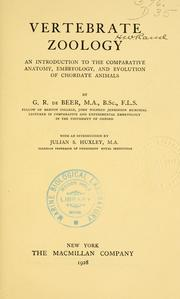 Vertebrate zoology by De Beer, Gavin Sir