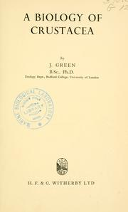 A biology of Crustacea by J. Green