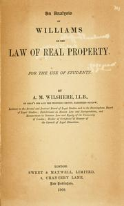 An analysis of Williams on the law of real property