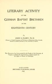 Literary Activity of the German Baptist Brethren in the Eighteenth Century PDF