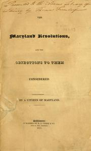 The Maryland resolutions, and the objections to them considered PDF
